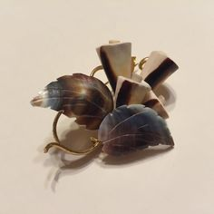 Vintage Sea Shell Floral Bouquet Brooch