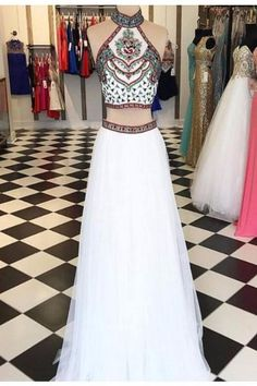 AH013 New Arrival Two Pieces High Neck Sleeveless Charming Prom Dresses 2017