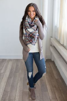 grey cardigan + solid white top + skinny jeans + lace up booties with heel + big scarf + hair down and straight
