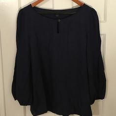 JCREW Romantic Navy Blouse This blouse is gorgeous and so easy to dress up!  Worn only twice.  Size 6.  Polyester.  Dry clean. J. Crew Tops Blouses