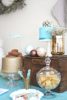 Turquoise and Metalic Christmas Dessert Table -