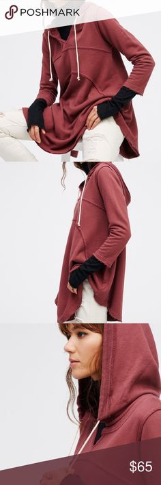 Free People FP Beach Luna Hoodie Super soft hooded sweatshirt in a swingy, oversized silhouette.  Featuring drawstring ties and raw edges for a lived-in, beachy feel.  100% Cotton  Machine Wash Cold  Import Free People Tops Sweatshirts & Hoodies