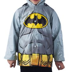 Batman Toddler Grey Rain Slicker Raincoat (2T). Grey/Yellow/Black. Officially licensed DC Comics Batman toddler boys apparel. Tailored from 100% polyurethane for durability. Snap closure in front. Wipe clean with damp cloth; Imported.