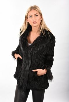 Black Fox Fur Jacket | Jayley Fur Jackets