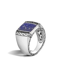 Men's Classic Chain Silver Signet Ring with Blue Lapis