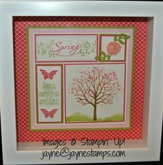 ~ ~ ~Jayne Stamps ~ ~ ~: Spring Shadowbox Frame made with the Sheltering Tree stamp set. So soft and pretty!