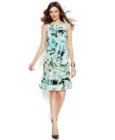 Alfani Sleeveless Floral-Print Scuba Dress | macys.com