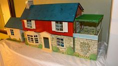 """MARX Sears 1962 #4073  Colonial MANSION with Breezeway and BOMB SHELTER Doll House  NO RUST COLD WAR SPECIAL"""