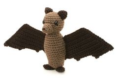 Fruit Bat Flying Fox amigurumi PDF CROCHET PATTERN by PlanetJune (Craft Supplies & Tools, Patterns & Tutorials, Fiber Arts, Crochet, crochet, bat, fruit bat, flying fox, animal, toy, halloween, spooky, cute, creepy, wings)