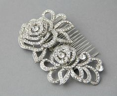 Crystal rose  bridal hair comb , Vintage wedding. Bridal crystal hair comb , crystals wedding hair - Style 262. $63.00, via Etsy.