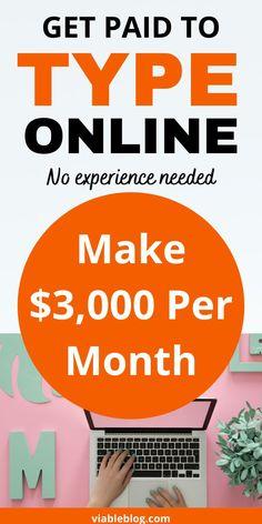 Make Money From Home, Way To Make Money, Make Money Online, Work From Home Moms, Make Money Blogging, Online Typing Jobs, Online Jobs, Job Info, Earn Money