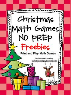 Christmas Math Games No Prep Freebies by Games 4 Learning contains 2 printable Christmas Math Game Sheets. These free Christmas math games are perfect for keeping students busy in the lead up to Christmas. And best of all they will be challenged and engag Fun Math, Math Games, Math Activities, Holiday Activities, Christmas Activities For School, Student Games, Fun Games, Second Grade Math, Grade 2