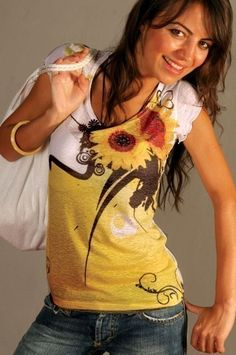 Yellow Sunflower  T-shirt  Sunshine Beautiful Colorful Unique Spring Fashion One Side Printed from Picsity.com