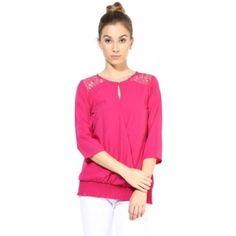The Vanca Formal 3/4 Sleeve Self Design Women's Top