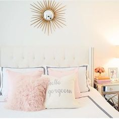 "Seriously how gorgeous is this room?!? @ceresbr1 does pink right!! And her new #bowsandburlap ""hello gorgeous"" pillow is the sweetest addition! ❤️"