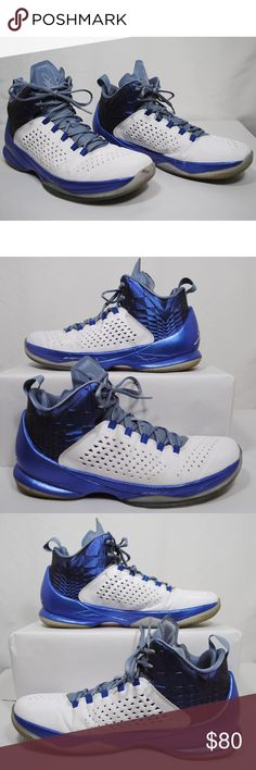7d62155dc8eb81 Nike Jordan Melo M11 White Royal Blue Us10 Excellent pre owned condition!  Gently used US