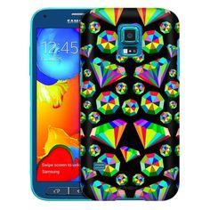Samsung Galaxy S5 Sport Epic Rainbow Diamonds on Black Trans Case