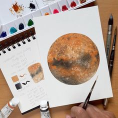 Planet Mars ❤ Watercolor Mars Painting Study No. 4. Using SALT(Sea Salt). It's a wet on wet technique.  I tried to mix first salt into my clean water and then apply it in the circle. Once you applied water on the circle it's time to put Burnt Sienna color around the circle. You can lift your paper and move around so the pigments will spread. Next, put some Neutral tint in the middle and left bottom of it. Just let the pigment spread. Now, while it's still wet it's time to put salt. Let it…