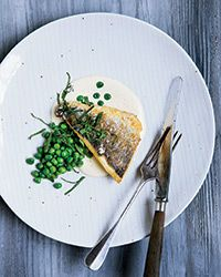Sea Bass with Lemongrass, Peas and Mint Recipe | Food & Wine #seafood_recipes #fish_recipes #lemongrass