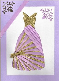 RIBBON DRESS CARDS | Ribbon Iris Fold Card Dress in Lilac and Gold by FourSistersShop