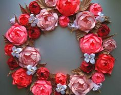 Pink Rose Origami Paper Wreath Mother's Day Wreath by Lusine