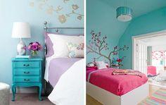 Os dois quartos tem parede turquesa com detalhes em rosa. Além de adesivos florais nas paredes!