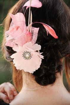 Fascinator Hair Clip CALLA pink flower by kristinalynnedesigns, $39.99