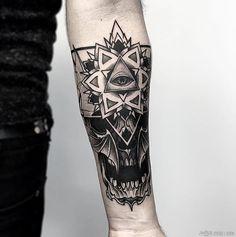 Fresh Blackwork Wrist Tattoo From Otheser! #blackwork #skull #dotwork #geometry…