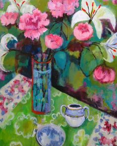 """Peonies on Green Table"": Annie O'Brien Gonzales."