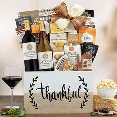 Thanksgiving Gift Baskets - Thanksgiving Holiday Wine Basket Holiday Gift Baskets, Holiday Gifts, Wine Baskets, Thanks For The Gift, Fall Treats, Thanksgiving Holiday, Corporate Gifts, Pumpkin Spice, Sweet Treats