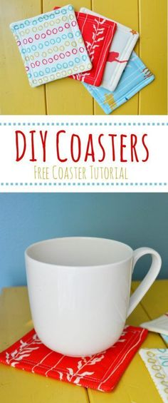 Sewing Projects For Kids Coastal Coasters Tutorial – Mary Martha Mama- How to sew your own coasters- Super quick sewing project! Sewing Hacks, Sewing Tutorials, Sewing Crafts, Sewing Tips, Tutorial Sewing, Diy Gifts Sewing, Gifts To Sew, Sewing Art, Fabric Coasters