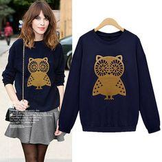 2014 Autumn Latest New Women Casual Cute Owl Print Loose Sweatshirt Hoodies Plus Size M-XXL 3 Colors Navy/Gray/Beige