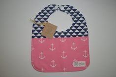 Pink and navy nautical anchor baby bib pink and by GoodnessGrayson