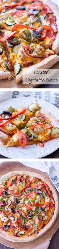 This easy pizza recipe is made with roasted vegetables and  Sharp Cheddar cheese to make a vegetarian comfort food!