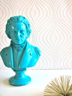 Beethoven Bust Statue in turquoise by mahzerandvee on Etsy, $60.00