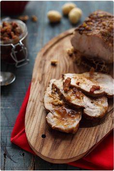 Roti de porc à la confiture de figues aux noix et lardons fumés