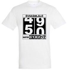Évszámláló póló 50. születésnapra Mens Tops, T Shirt, Fashion, Moda, Tee Shirt, Fashion Styles, Fashion Illustrations, Tee