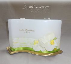 Hochzeitskerze mit Orchideen, schlicht und extravagant heiraten www.diekerzentante.at Natural Candles, Homemade, Cake, Wedding, Decor, Candles, Orchids, Getting Married, Wedding Bride