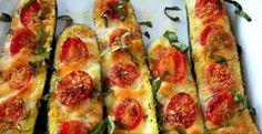 Wheat-Free 'Pizza' Baked Zucchini Recipe. Use all organic, non-GMO veggies for a super healthy meal.