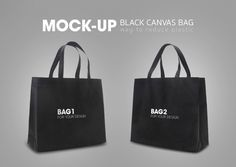 Black tote shopping bags mock-up Premium Psd Black Tote, Black Canvas, Mockup, Shopping Bags, Reusable Tote Bags, Texture, Abstract, Pattern, Free