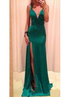 Cross Back Sexy Green Maxi Dress
