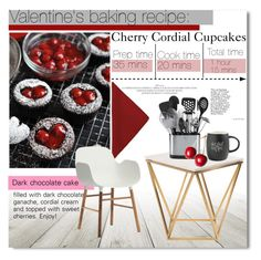"""Valentine's baking recipe: Cherry Cordial Cupcakes"" by nastya-d ❤ liked on Polyvore featuring interior, interiors, interior design, home, home decor, interior decorating, Nuevo, Printable Wisdom, Normann Copenhagen and valentine"