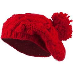 Twist Beret Knitted with Pom Pom Red (€15) ❤ liked on Polyvore featuring accessories, hats, beret hat, pom pom hat, red beret, red beret hat and red pom pom hat