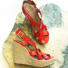 Vince Camuto Patent Espadrille Wedges So cute and perfect for warm weather! Brand new and never worn. No trades!! 0511690gws Vince Camuto Shoes Wedges