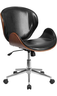 Flash Furniture Mid Back Natural Wood Swivel Conference Chair in Leather, Black Best Price