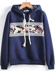 Blue Hooded Long Sleeve Floral Loose Sweatshirt