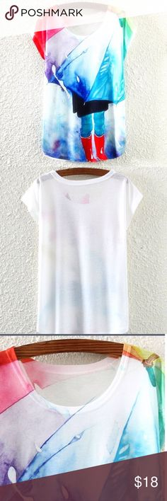 Rainy Day Graphic Color Block Tee Extra soft white tee Wear as a loose Small or a slightly more fitted Medium Bust(cm) :94CM Length(cm) :58CM Sleeve Length(cm) :16CM(From neck to cuff) 35% cotton 65% polyester Tops Tees - Short Sleeve