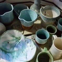 Freshly fired mugs and more in the electric kiln