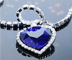 Heart of Ocean Alloy Blue Sparkling Rhinestone Crystal Diamond Necklace  Chain Pendant Necklace Neewer,http 34b1881299