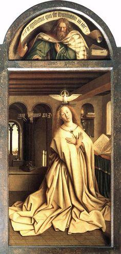 VAN EYCK. Polittico dell'agnello mistico- annunciazione della vergine. 1432. TECNICA: pittura ad olio. LUOGO: cattedrale di San Bavone, Gand, Belgio